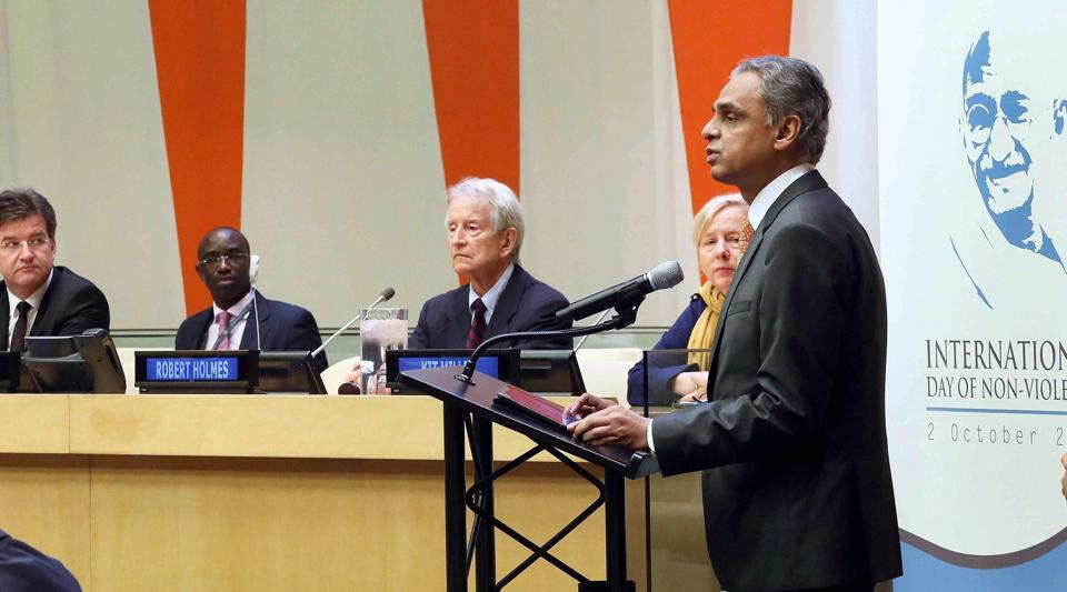 Ambassador Syed Akbaruddin, India's Permanent Representative to the UN delivers his inaugural speech on the occasion of observing International Day of Non-Violence also to celebrate Gandhi Jayanti at the United Nations on Monday.