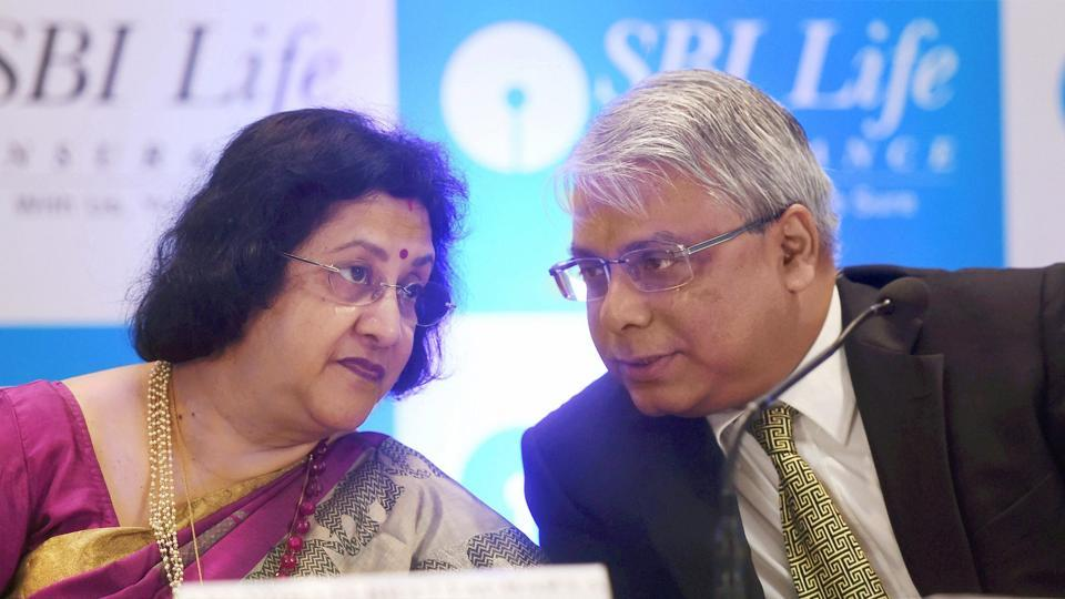 SBI Chairperson Arundhati Bhattacharya with MD & CEO SBI life insurance Co.Ltd Arjit Basu during a press conference in Mumbai on September 13, 2017.