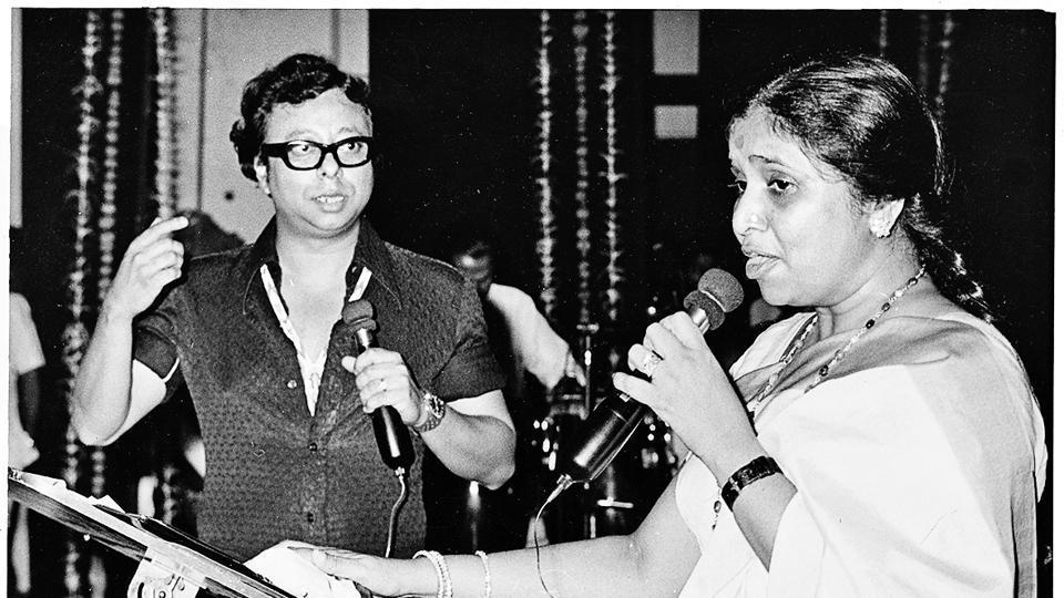 Asha Bhosle and RD Burman recording a song.