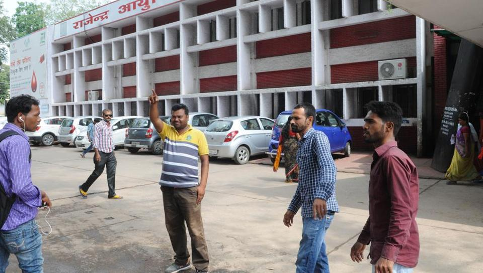 One of the six accused released by the Jharkhand high court on bail helps visitors to RIMS negotiate their way through the hospital campus as part of their community service obligations on Tuesday.