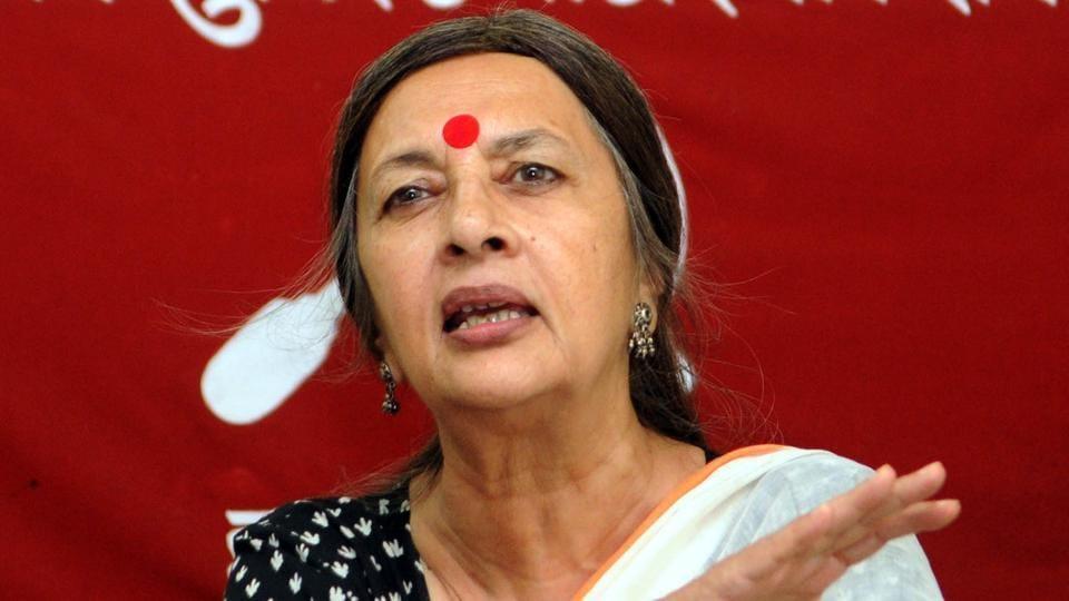 CPI(M) Polit Buro member Brinda Karat addressing a press conference in Ranchi on August 28.