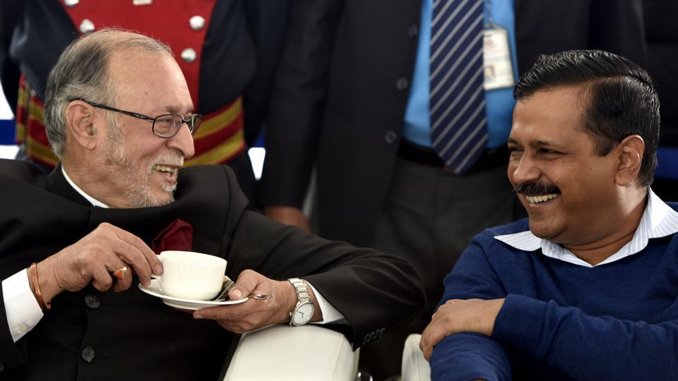 Delhi Lieutenant governor Anil Baijal and Delhi chief minister Arvind Kejriwal at a function in New Delhi.