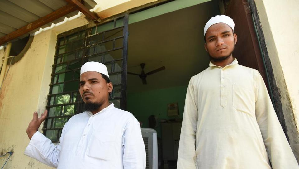 Imam Ziyauddin Al Hussaini (left) and his brother Saba Hasan at the mosque in Noida's Chapproli Banger village.