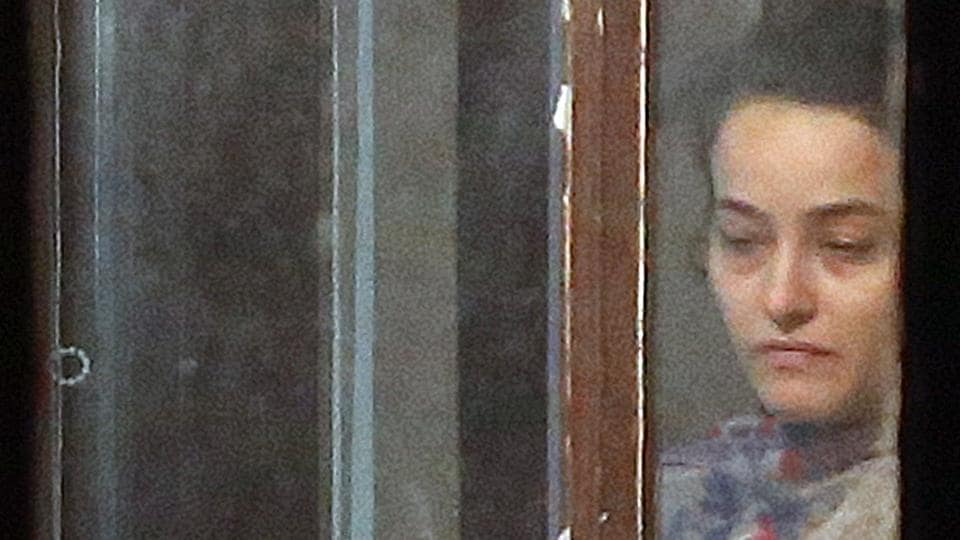 Honeypreet Insan in police custody at Chandimander police station in Panchkula on Tuesday.