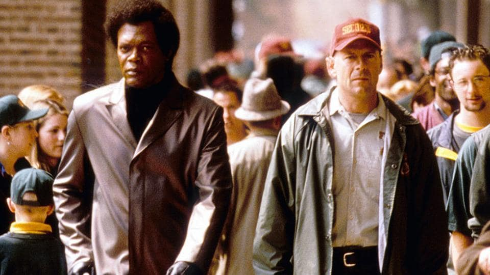 Samuel L Jackson and Bruce Willis in a still from Unbreakable.