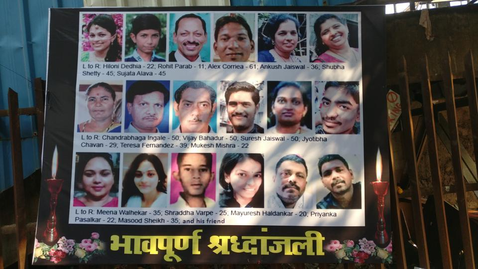 The banner put up outside Elphinstone station has photo of Imran Shaikh (last, 3rd row) next to his uncle's.