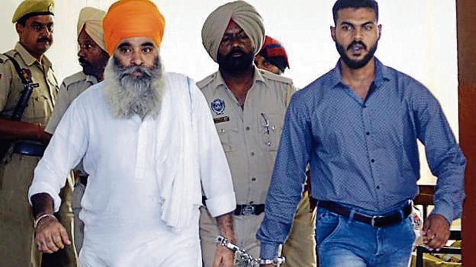 Main accused in Nabha jailbreak Harminder Singh Mintoo at the district court in Patiala on Tuesday.