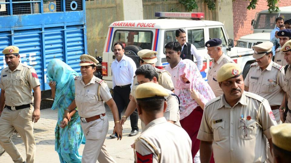 Honeypreet Insan and Sukhdeep Kaur arrive at the court complex in Panchkula on Wednesday.