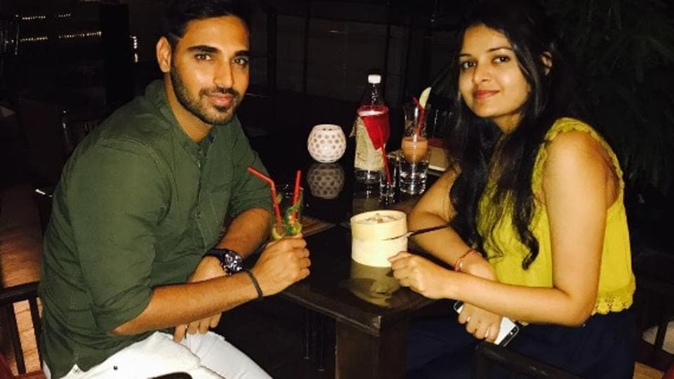 """Bhuvneshwar Kumar with his """"secret date"""" in the picture shared by him on Instagram."""