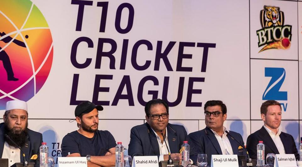 The T10 Cricket League was announced in Dubai on Tuesday, with former Pakistan cricket team players Shahid Afridi (2nd left) Misbah-Ul-Haq (not in pic)and Inzamam-ul-Haq (left), and England cricket team player Eoin Morgan (right) attending the function.