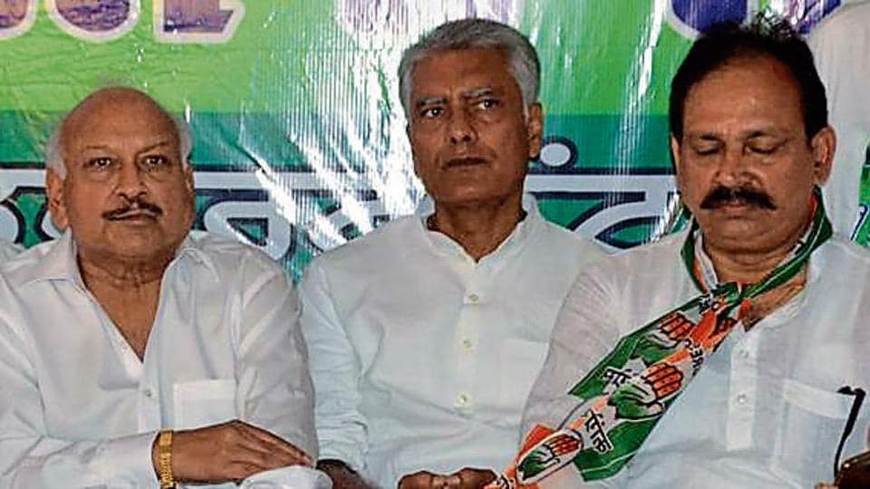 Punjab Congress president Sunil Jakhar during a meeting in Pathankot on Tuesday.