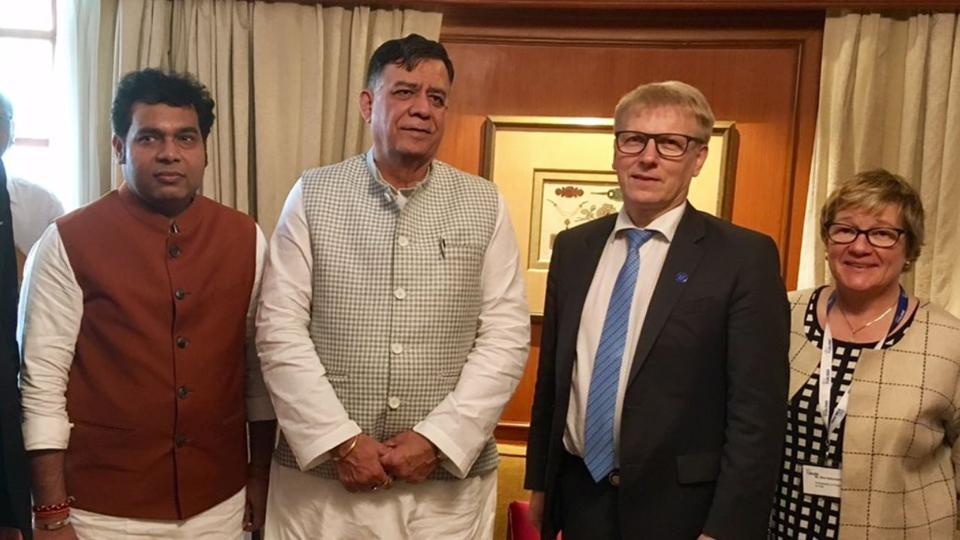 Finnish minister for energy and environment Kimmo Tiilikainen (second from right) seen with ministers of Uttar Pradesh state. Tiilikainen visited India with a business delegation.