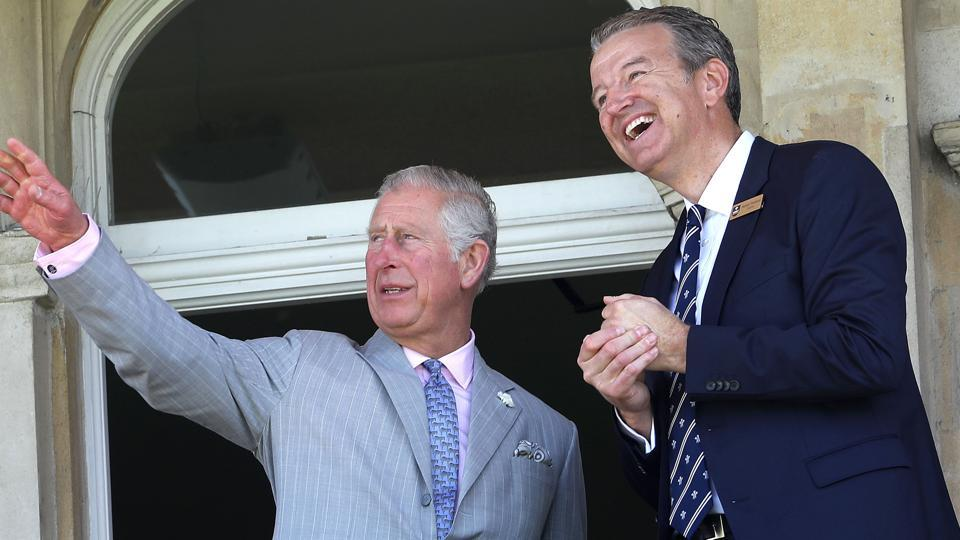 Britain's Prince Charles, Prince of Wales talks to Surrey County Cricket Club chairman, Richard Thompson (right) during the launch of the ICC Champions Trophy 2017 at the The Oval in London in May.