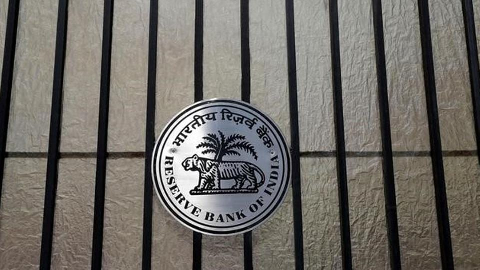 A Reserve Bank of India (RBI) logo is seen at the entrance gate of its headquarters in Mumbai.