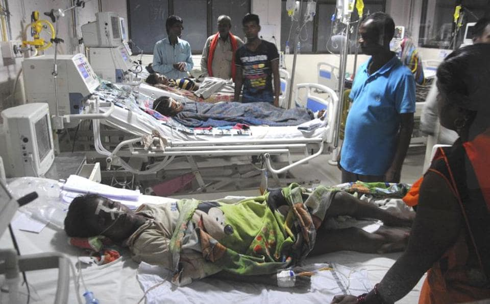 Gorakhpur, India - Aug. 30, 2017: An inside view of a ward of BRD Hospital in Gorakhpur , India, on Wednesday, August 30, 2017.HT Photo