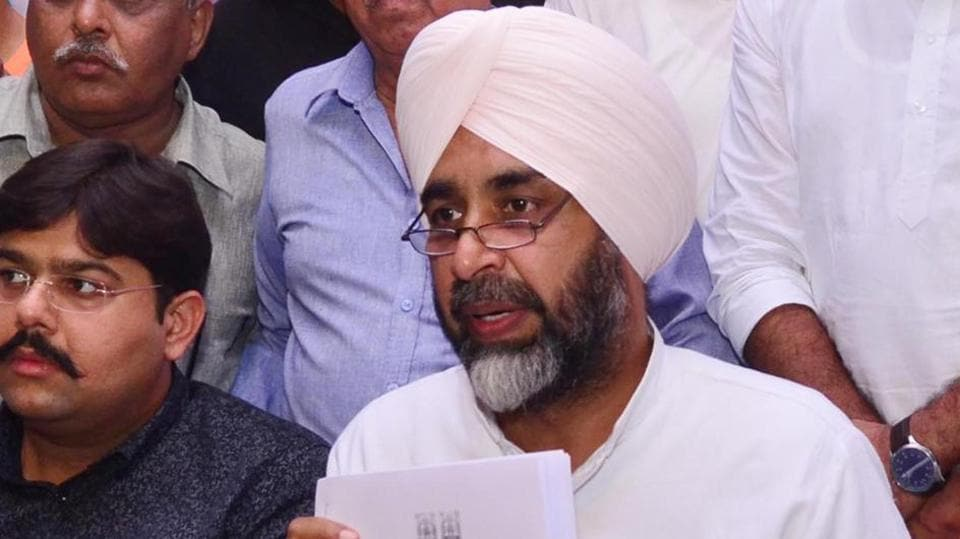 Punjab finance minister Manpreet Singh Badal addressing a press conference in Amritsar on Wednesday.
