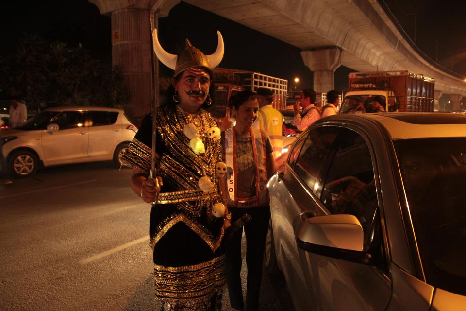 Gurgaon traffic cop, Sandeep Singh dons the role of Yamraj, for an anti-drink driving campaign in the city.