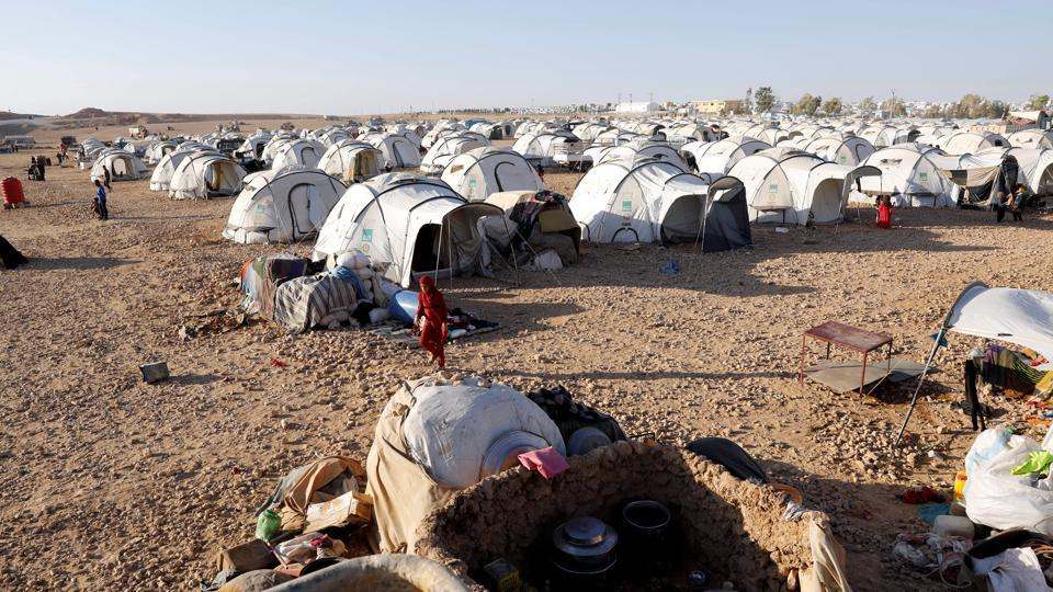 A view of a refugee camp for people displaced by fightings between the Syrian Democratic Forces and Islamic State militants in Ain Issa, Syria.