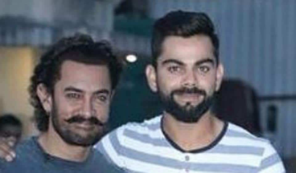 Aamir Khan and Virat Kohli shoot for a Diwali special chat show in Mumbai.