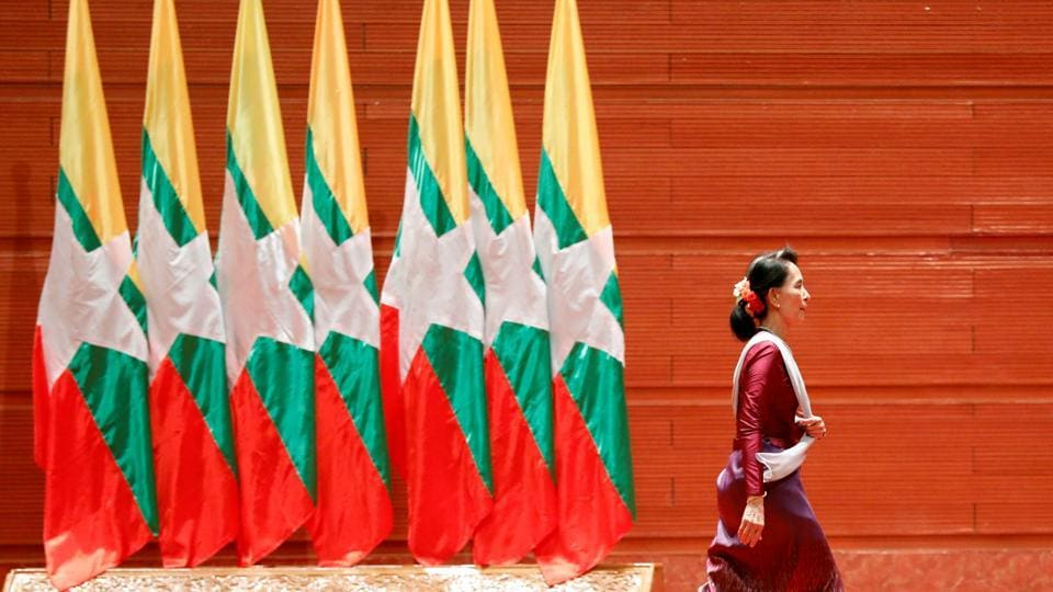 Myanmar leader Aung San Suu Kyi walks off the stage after delivering a speech to the nation over Rakhine and Rohingya situation, in Myanmar in September.
