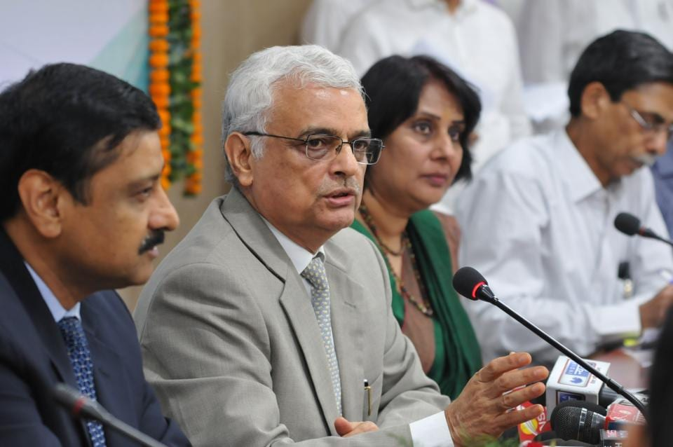Bhopal, India - Oct. 4, 2017: Commissioner, Election Commission of India, O P Rawat addressing a press conference in Bhopal, October 4.  Rawat said that the Election Commission would be ready to hold assembly and Lok Sabha elections simultaneously after September next year