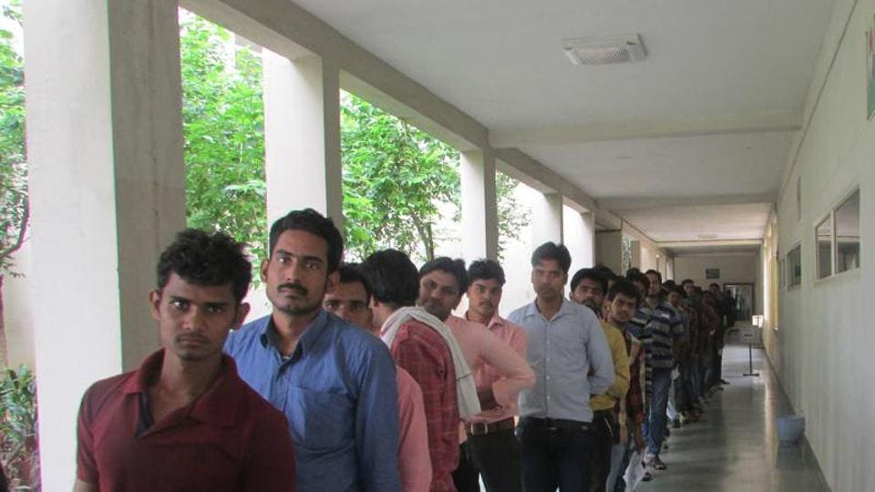 Students have taken umbrage at being asked to queue up and pay GST charges, just because the MPOnline portal regards uploading of applications as a service.