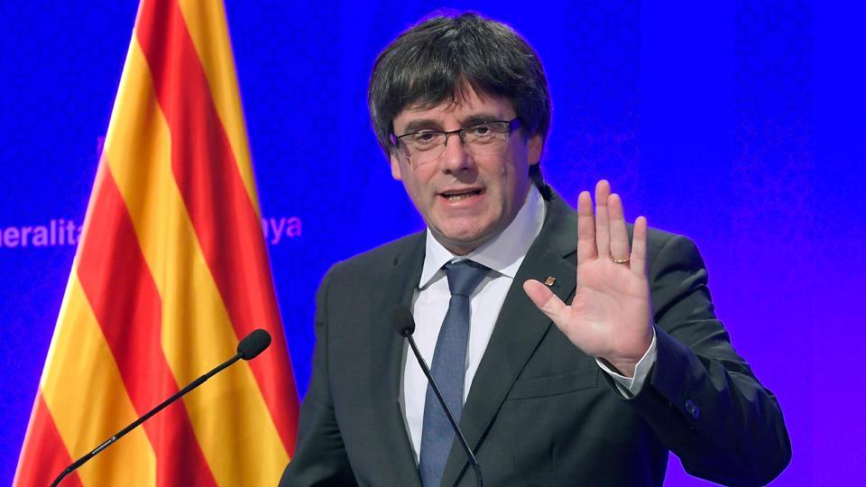Catalan president Carles Puigdemont gives a press conference in Barcelona, on October 2, 2017.