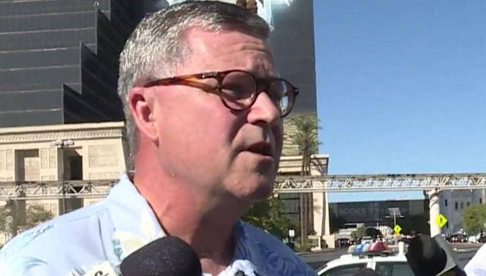 Bruce Ure speaks to members of the media on the Las Vegas Strip in Las Vegas, Nevada on October 3, 2017, after a gunman killed 59 people and wounded more than 500 others when he opened fire from the Mandalay Hotel on a country music festival.