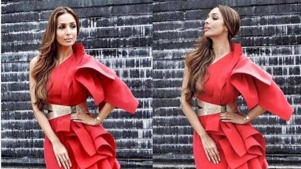 Malaika Arora wears a bold one-shoulder dress by designer Gaurav Gupta.