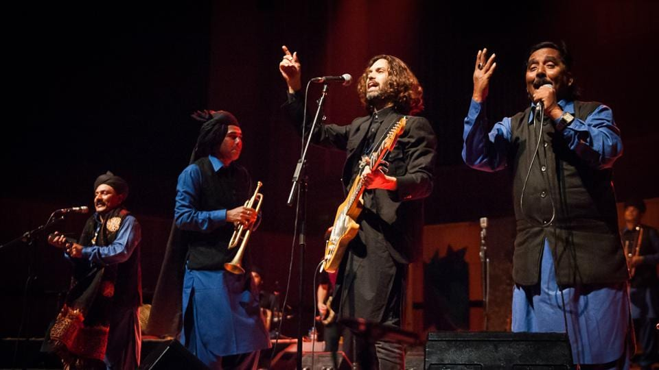 Israeli musician Shye Ben Tzur with members of the Indian band Rajasthan Express at the Independence Gala 2017 show at Southbank Centre in London on October 4, 2017.