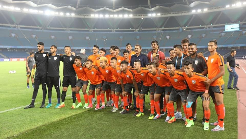 The Indian football team ahead of their FIFAU-17 World Cup opening game against the United States of America.