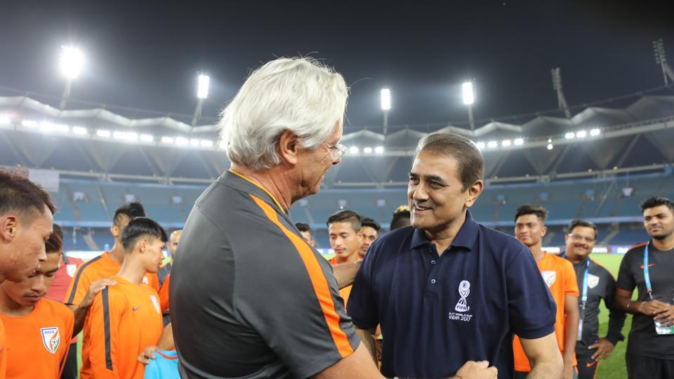 All India Football Federation (AIFF) President Praful Patel paid a visit to the Indian team at the Jawaharlal Nehru Stadium.  (AIFF )