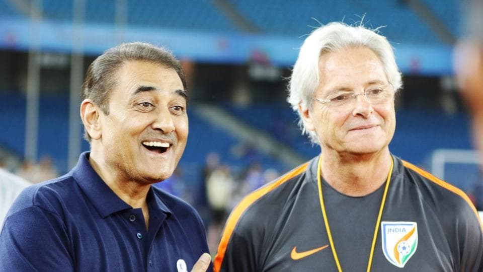 Praful Patel met all the boys individually and greeted coach Luis Norton de Matos.  (AIFF )