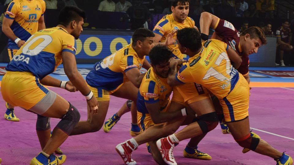 Action during the UP Yoddha vs Tamil Thalaivas Pro Kabaddi League (PKL) match on Wednesday.
