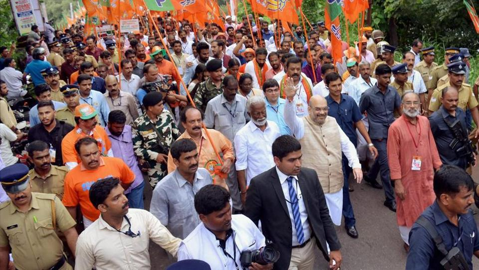 BJP president Amit Shah at the launch of the party's Janaraksha Yathra at Payyannur in Kannur on Tuesday.