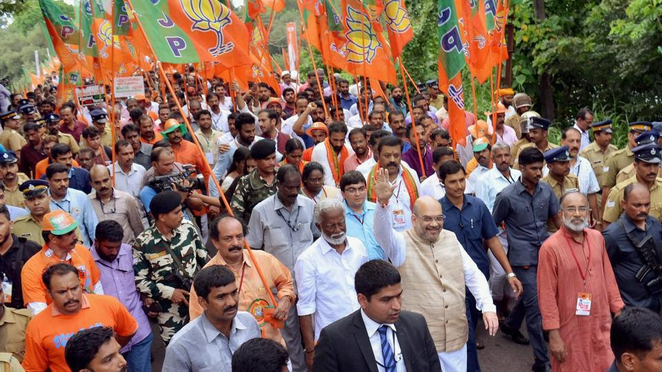 BJP national president Amit Shah at the launch of the party's  Janraksha Yatra at Payyannur in Kannur on Tuesday.