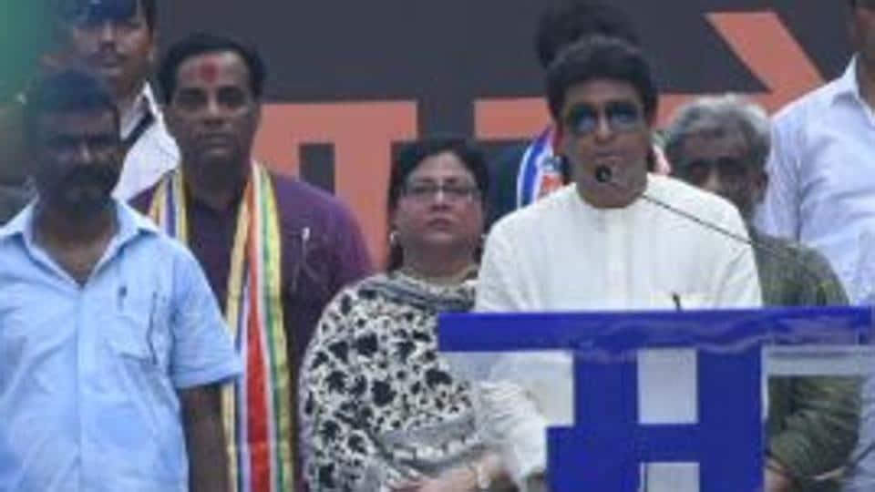 MNS chief Raj Thackeray address the crowd at Churchgate on Thursday.