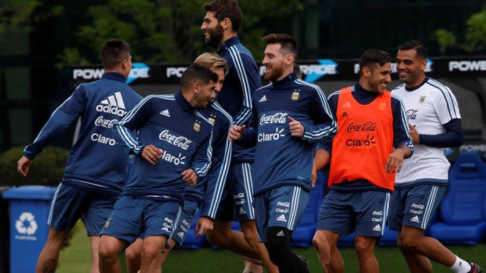 Argentina football team during a training session on Wednesday, ahead of their 2018 FIFA World Cup qualifying match against Peru.
