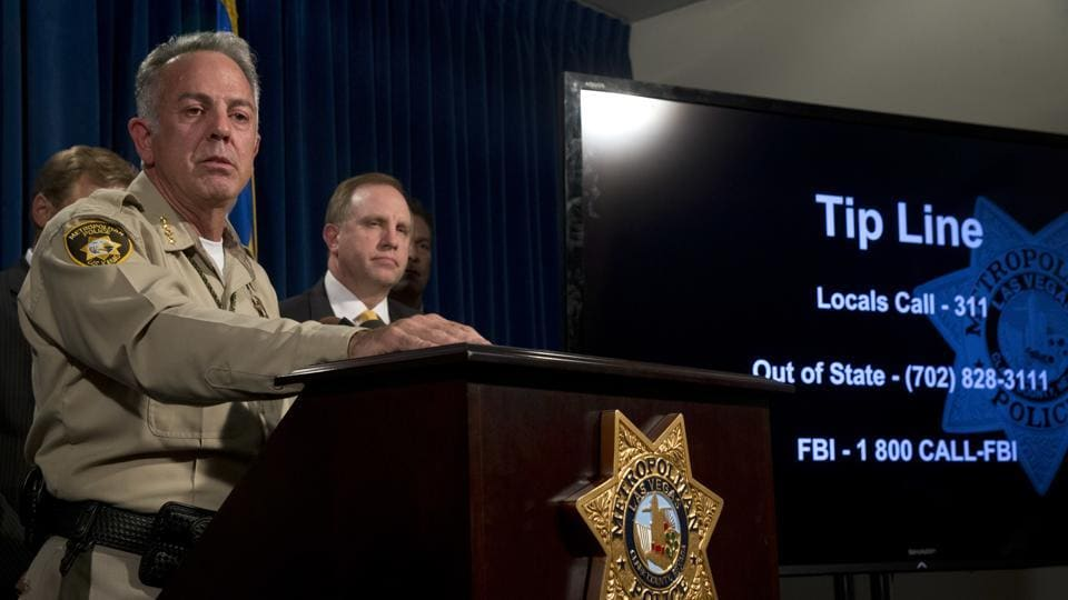 Clark County Sheriff Joe Lombardo holds a media briefing at Metro Police headquarters in Las Vegas on October  4.