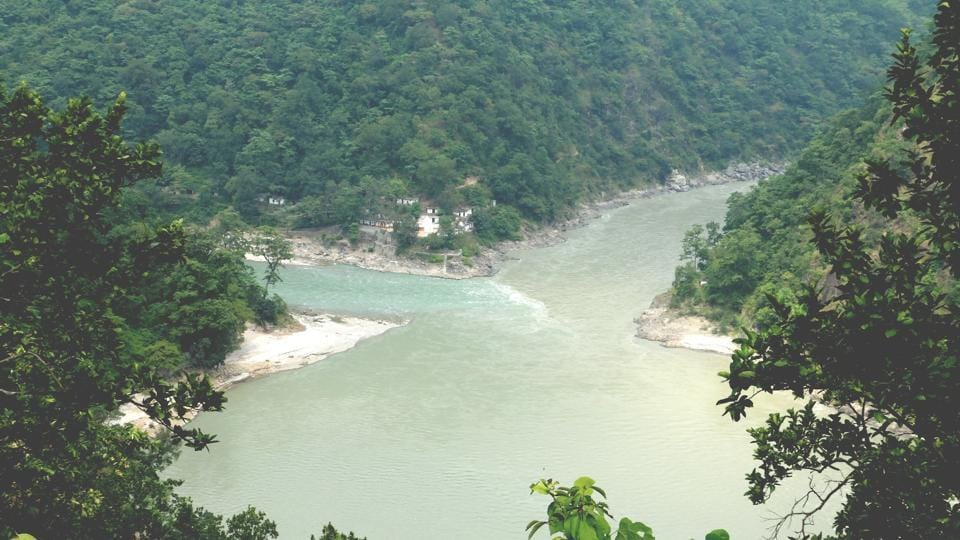 The point where the Pancheswar dam is proposed to come up in Pithoragarh.