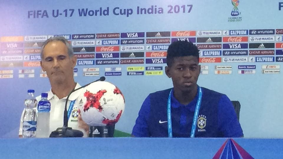 Brazil coach Carlos Amadeu and captain Vitao addressing the media in Kochi ahead of their FIFA U-17 World Cup opener vs Spain.