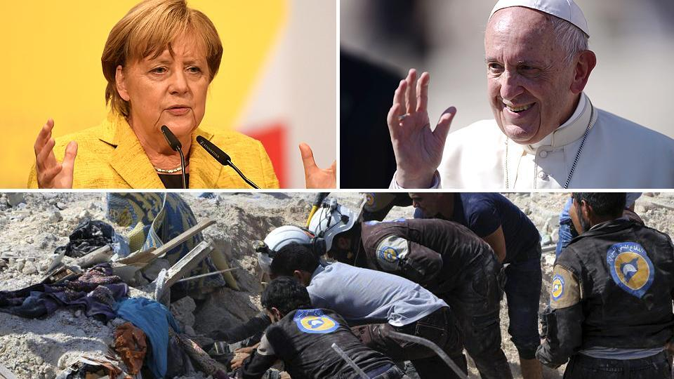 Combination image of Angela Merkel (left), Pope Francis (right), and the White Helmets (upper image)