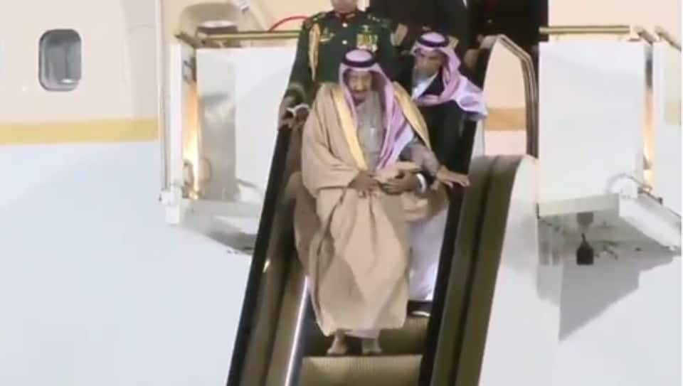 Saudi King deboarding from his private jet in Moscow.