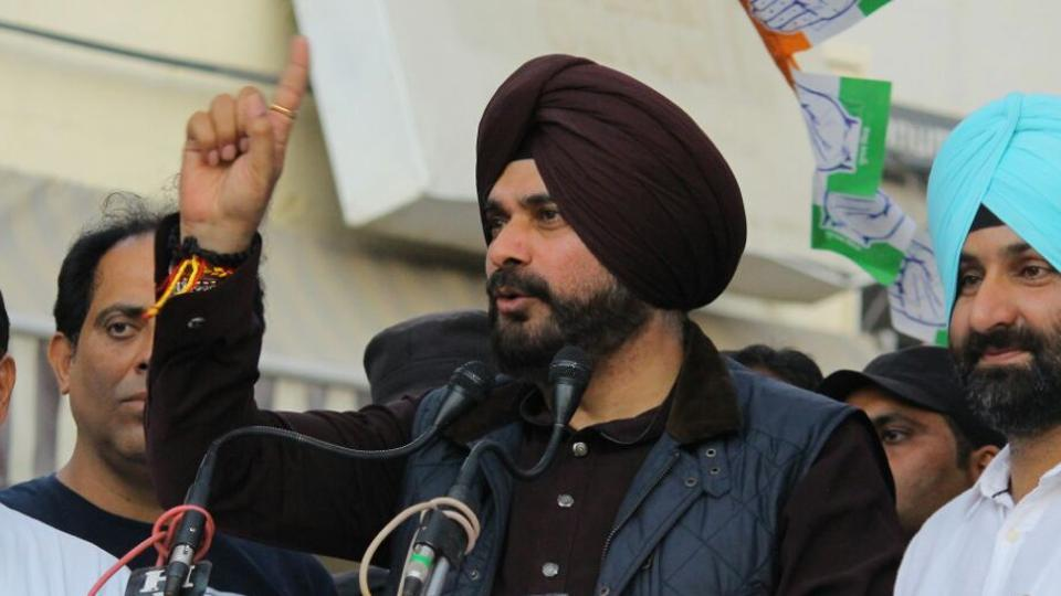 Punjab local bodies minister Navjot Singh Sidhu  addressing a rally in favour of Congress candidate Sunil Jakhar at Hanuman Chowk in Gurdaspur on Friday.