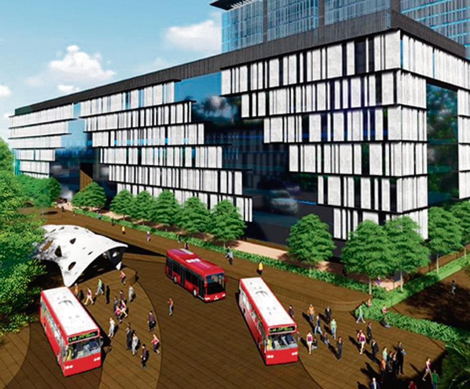 Concept visualisation of the exterior of Swargate transport hub.