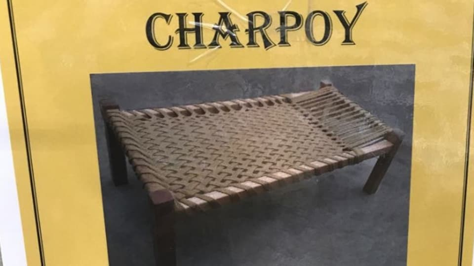 The charpoy claims to be 'hand-woven' using manila rope and can be customised as per the buyers' specifications.
