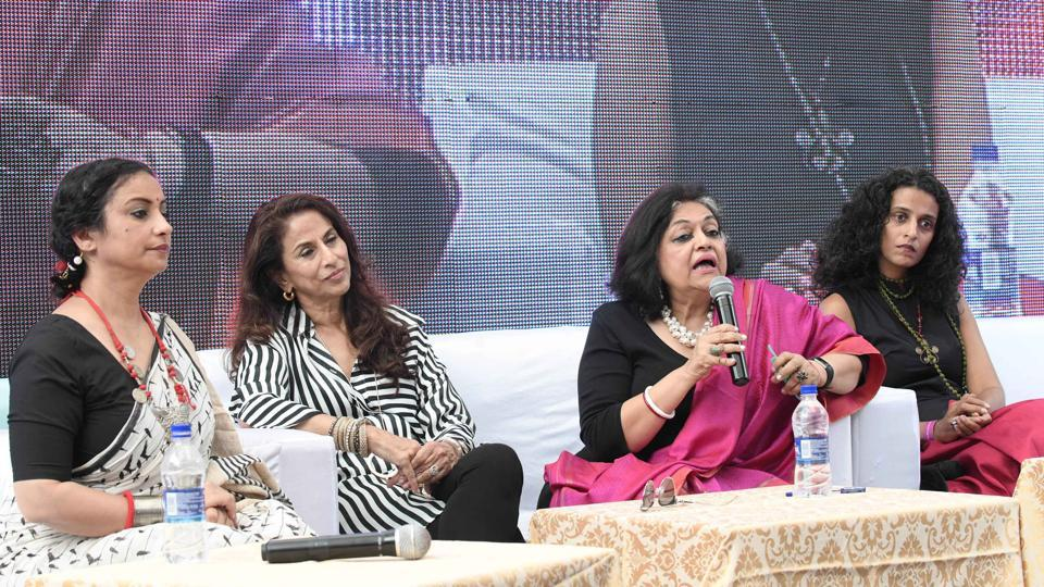 From left : Bollywood actor Divya Dutta, author Shobha De, author and academician Alka Pande, and  writer Amrita Narayanan at the sixth edition of the Khushwant Singh literary festival at Kasauli on Friday. (Karun Sharma/HT)