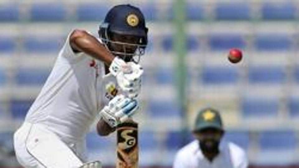 Dimuth Karunaratne in action during the Day 1 of the second Test between Pakistan and Sri Lanka in Dubai. Catch full cricket score of Pakistan vs Sri Lanka, 2nd Test, day 1 here.