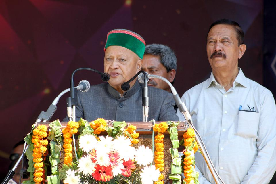 Himachal Pradesh chief minister Virbhadra Singh during the closing ceremony of the International Dusshehra festival.  The Congress has lived up to its dynastic reputation since family members of big names such as Virbhadra Singh, Kaul Singh, RN Sharma and Brij Bihari Lal Butel have been fielded.