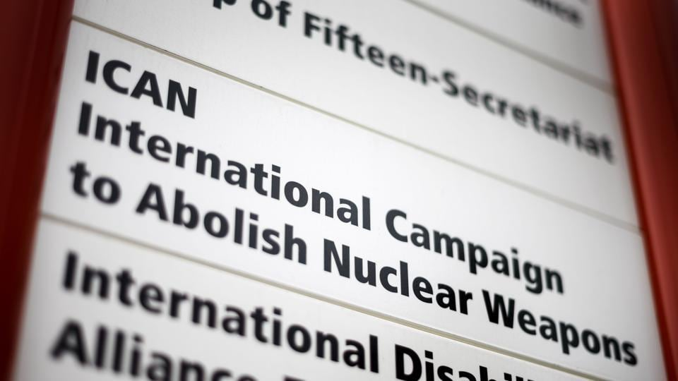 This file photo shows a plate of the NGO International Campaign to Abolish Nuclear Weapons (ICAN) at their headquarters inside the Ecumenical Center building in Geneva. The anti-nuclear campaign ICAN won the Nobel Peace Prize 2017.